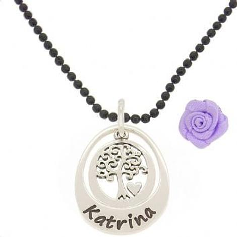 19mm SMALL OVAL PERSONALISED FAMILY TREE OF LIFE NAME PENDANT NECKLACE