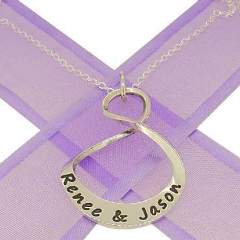 25mm OVAL MOBIUS INFINITY PERSONALISED NAME PENDANT NECKLACE -25mm-MobInf-ca40