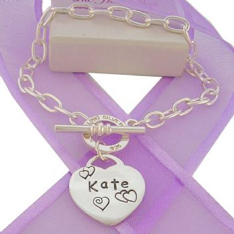25mm PERSONALISED LOVE HEART CABLE TBAR TOGGLE BRACELET