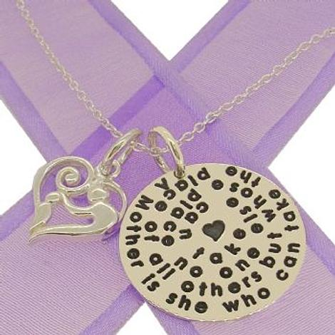 25mm ROUND PERSONALISED NAME MESSAGE COIN PENDANT with MOTHER BABY HEART -25mm-SS-KB78