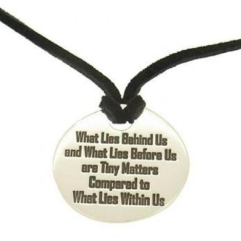 27mm UNISEX TABLET PERSONALISED FAMILY NAME MESSAGE PENDANT BLACK SUEDE NECKLACE