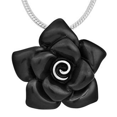 PASTICHE MIX n MATCH STERLING SILVER 31mm BLACK ROSE PENDANT NECKLACE