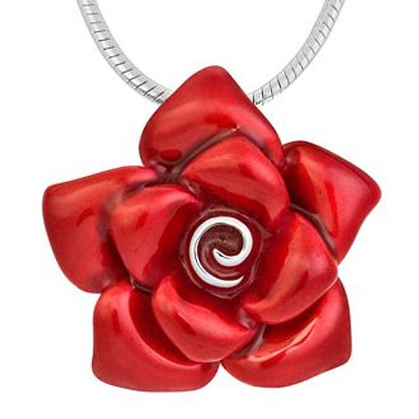 PASTICHE MIX n MATCH STERLING SILVER 31mm RED ROSE PENDANT NECKLACE