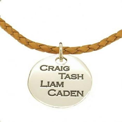 27mm UNISEX TABLET PERSONALISED FAMILY NAME MESSAGE PENDANT LEATHER NECKLACE