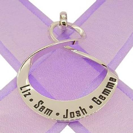 32mm OVAL MOBIUS INFINITY PERSONALISED NAME PENDANT -32mm-MobInf