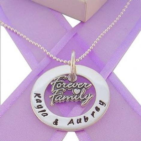 28mm CIRCLE OF LIFE PERSONALISED FAMILY FOREVER CHARM NAME PENDANT NECKLACE -28mmFP136-TI-09710-2mm BALL