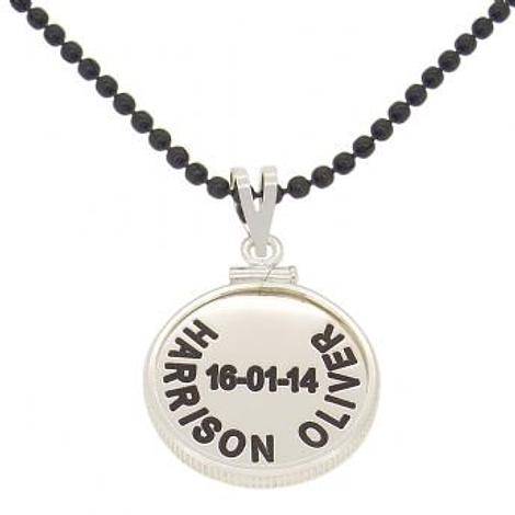 19mm COIN FRAME PERSONALISED NAME PENDANT BLACK STEEL BALL NECKLACE