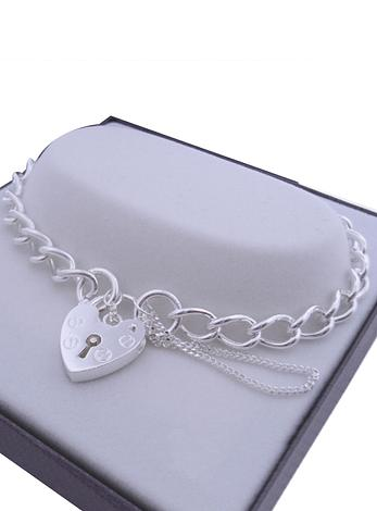 Traditional Curb Padlock Bracelet Sterling Silver 6x9mm