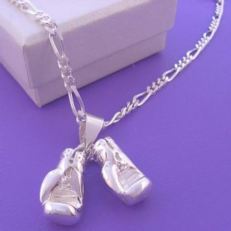 STERLING SILVER BOXING GLOVES NECKLACE