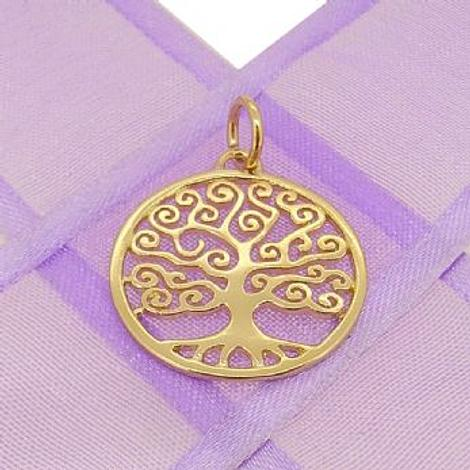 9CT GOLD 20mm FAMILY TREE OF LIFE CHARM PENDANT