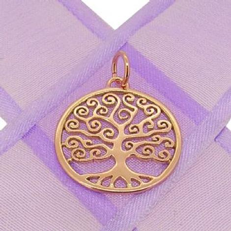 9CT ROSE GOLD 20mm FAMILY TREE OF LIFE CHARM PENDANT