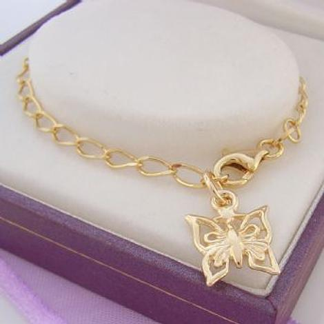 9CT GOLD 11mm BUTTERFLY CHARM 2.8mm CURB BRACELET