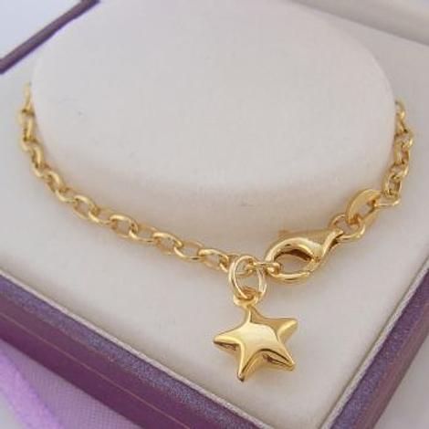 9CT GOLD LUCKY STAR CHARM BELCHER BRACELET