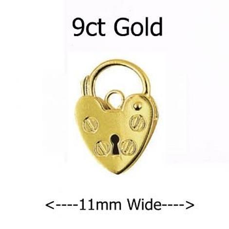 9CT YELLOW GOLD 11mm PLAIN HEART PADLOCK CLASP -FINDING_9CT_P11_11mm