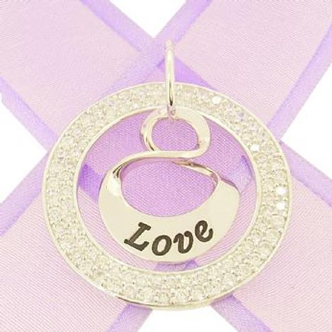 19mm SMALL OVAL MOBIUS INFINITY PERSONALISED NAME PENDANT CZ CIRCLE -19mm-MobInf-34mmCZcircle