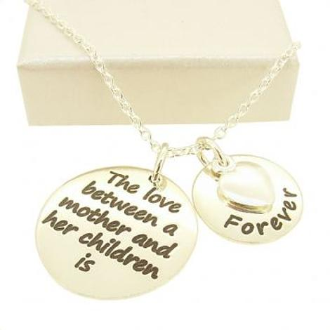 16mm and 22mm Mothers Love MESSAGE COINS HEART CHARM PENDANT NECKLACE