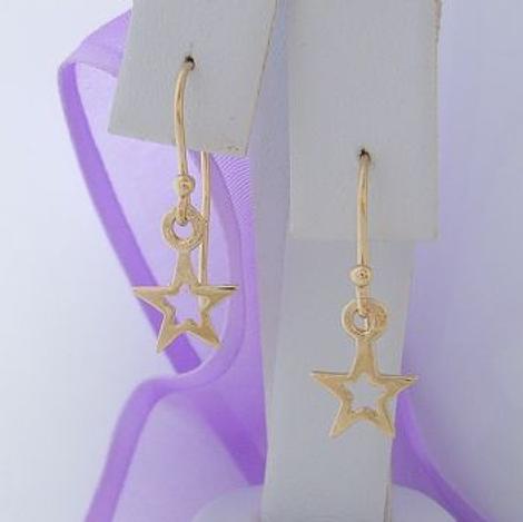 9CT GOLD OPEN STAR CHARM HOOK EARRINGS