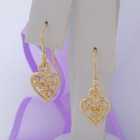 9CT GOLD 9mm FLOWER HEART CHARM DROP HOOK EARRINGS