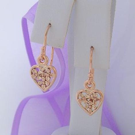 9CT ROSE GOLD 9mm FLOWER HEART CHARM DROP HOOK EARRINGS