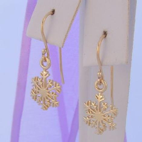 9CT YELLOW GOLD 10mm SNOWFLAKE CHARM DROP HOOK EARRINGS