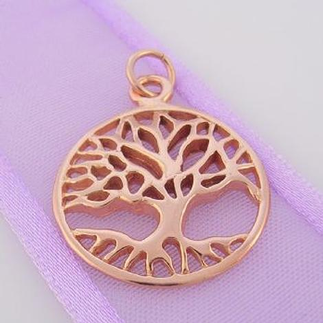 SOLID 9CT ROSE GOLD 20mm TREE OF LIFE CHARM PENDANT - 9R_HRKB48