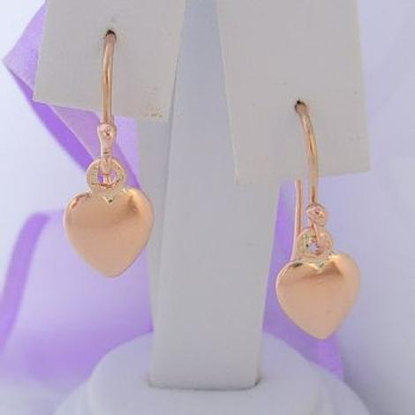 SOLID 9CT ROSE GOLD 8mm HEART CHARM DROP HOOK EARRINGS