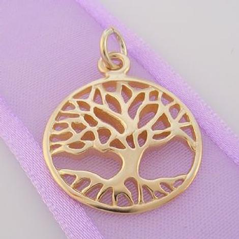SOLID 9CT YELLOW GOLD 20mm TREE OF LIFE CHARM PENDANT - 9Y_HRKB48