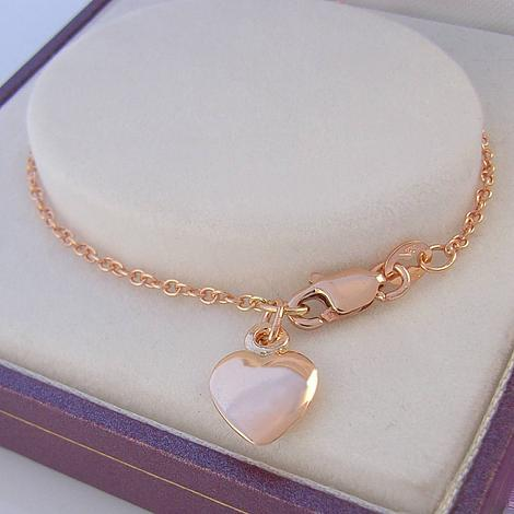 27cm 9CT ROSE GOLD 8mm HEART CHARM CABLE CHAIN ANKLET -A-9R-CA40-HR1980-27