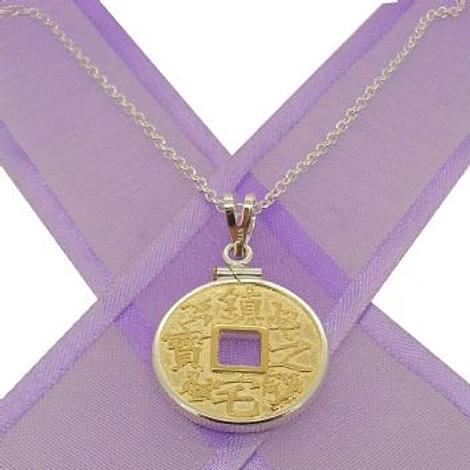 STERLING SILVER 20mm COIN HOLDER 9CT GOLD CHINESE GOOD LUCK CHARM NECKLACE