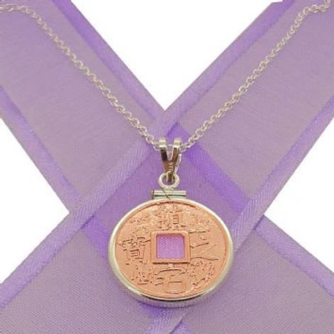 CHINESE GOOD LUCK CHARM 9CT ROSE GOLD WITH SILVER COIN HOLDER NECKLACE