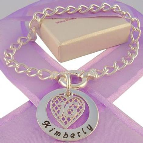 25mm PERSONALISED CIRCLE OF LIFE 16th BIRTHDAY HEART CABLE BRACELET