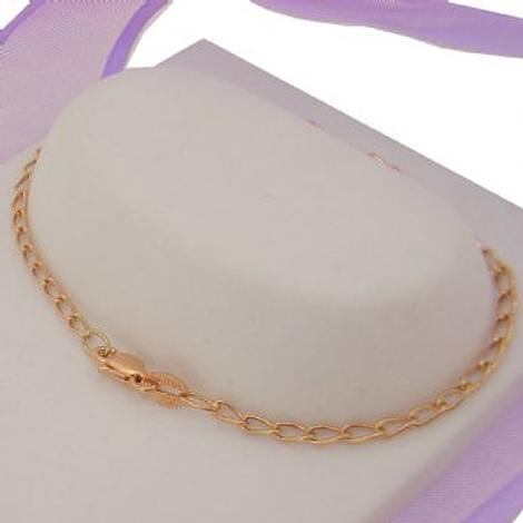 9CT ROSE GOLD CURB CHAIN ANKLET 27cm