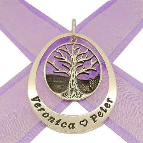35mm x 52mm OVAL CIRCLE OF LIFE PERSONALISED TREE OF LIFE NAME PENDANT -35x52mm-KB-ss