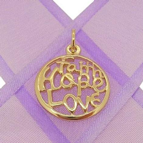 9CT GOLD FAITH HOPE LOVE CHARM PENDANT