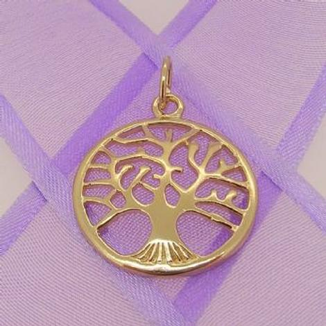 SOLID 9CT YELLOW GOLD 22mm TREE OF LIFE CHARM PENDANT - 9Y_HRKB114