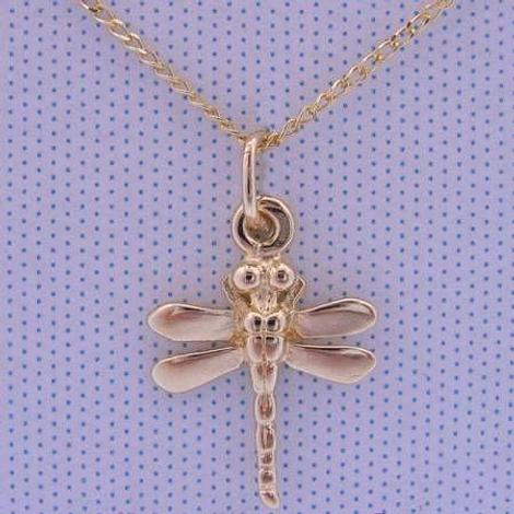 9CT YELLOW GOLD DRAGONFLY CHARM PENDANT NECKLACE CHAIN 45cm