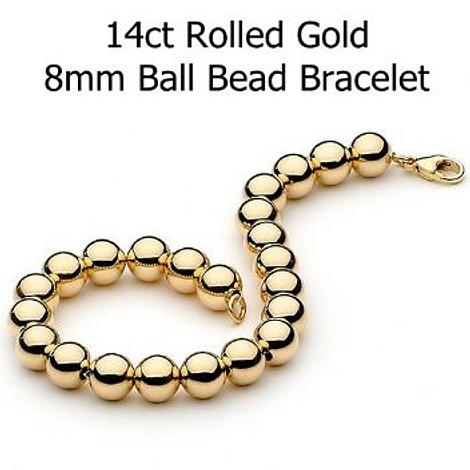 14CT ROLLED GOLD 8mm BALL BEAD BRACELET
