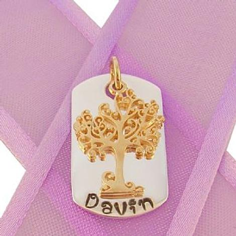 STERLING SILVER DOG TAG PERSONALISED 9CT GOLD TREE OF LIFE NAME PENDANT