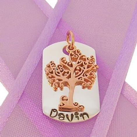 STERLING SILVER DOG TAG PERSONALISED 9CT ROSE GOLD TREE OF LIFE NAME PENDANT