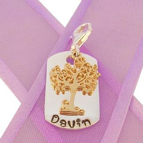 DOG TAG PERSONALISED 9CT YELLOW GOLD TREE OF LIFE NAME CLIP ON CHARM