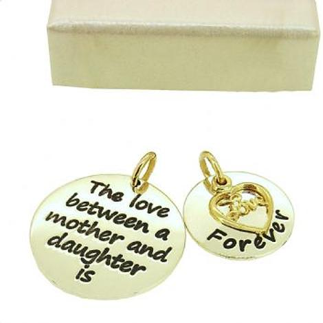 16mm and 22mm Mothers Love MESSAGE COINS 9CT GOLD LOVE HEART CHARM PENDANT