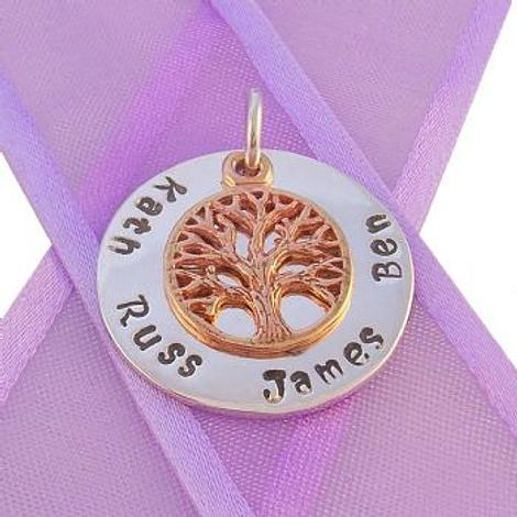 23mm ROUND PERSONALISED CIRCLE 9CT ROSE GOLD TREE OF LIFE NAME PENDANT