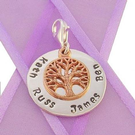 23mm ROUND PERSONALISED CIRCLE TREE OF LIFE NAME PENDANT -CH-23mm-KB52-9R