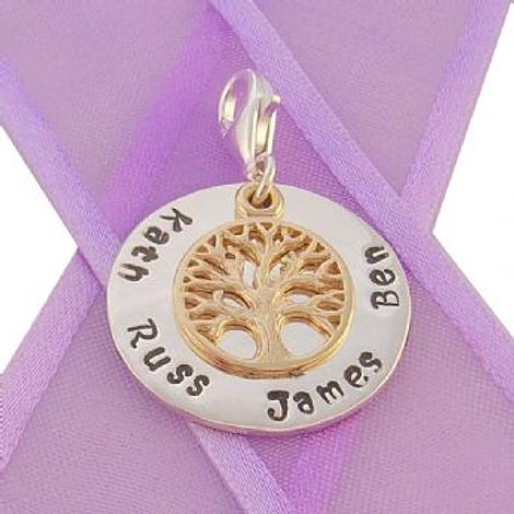 23mm ROUND PERSONALISED CIRCLE TREE OF LIFE NAME PENDANT -CH-23mm-KB52-9Y