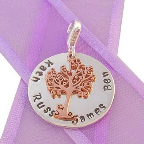 23mm ROUND PERSONALISED TREE OF LIFE NAME PENDANT -CH-23mm-KB60-9R