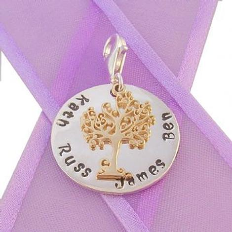 23mm ROUND PERSONALISED TREE OF LIFE NAME PENDANT -CH-23mm-KB60-9Y