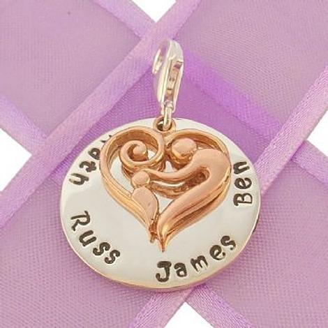 23mm ROUND PERSONALISED MOTHER BABY HEART NAME PENDANT -CH-23mm-KB47-9R