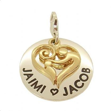23mm ROUND PERSONALISED MOTHER BABY HEART NAME PENDANT -CH-23mm-KB47-9Y