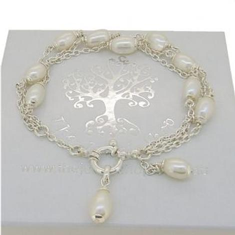 STERLING SILVER TRIPLE ROW CABLE CHAIN DESIGN FRESHWATER PEARL BRACELET