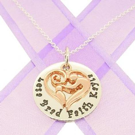 23mm ROUND PERSONALISED MOTHER BABY CHILD NAME PENDANT CABLE NECKLACE